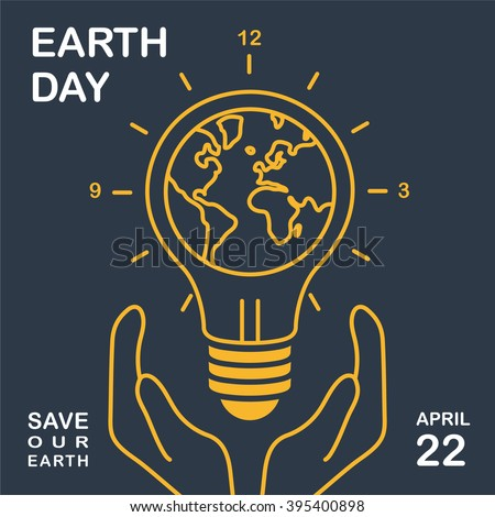 Earth day holding earth globe hands stock vector royalty free earth day holding a earth globe in hands light bulb with world map on ccuart Image collections