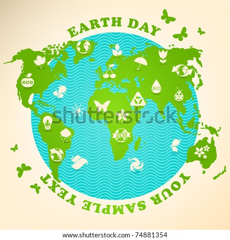 Earth Day illustration with ecology symbols