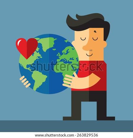 earth day. Man holding globe. Flat vector illustration - stock vector