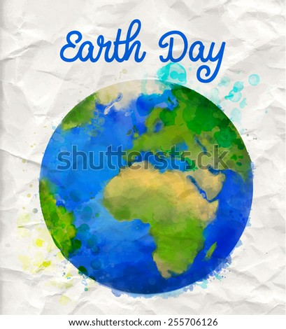Earth day poster with watercolor globe vector illustration on rumple paper - stock vector