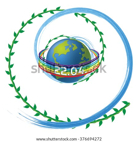 Earth Day vector illustration - date 22nd of April, with ocean wave and plant (vegetation) swirls, and peace rainbow, with copy space for text in any language.