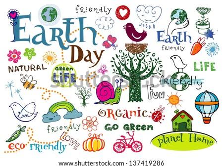Earth day vector set - doodles and inscriptions - stock vector
