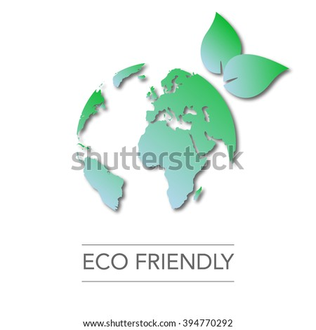 earth day. world globe map. green leaves. eco friendly. Ecology concept, vector illustration. go green - stock vector