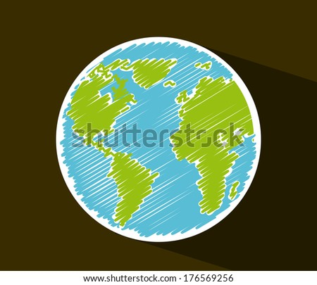 earth design over  brown background vector illustration - stock vector