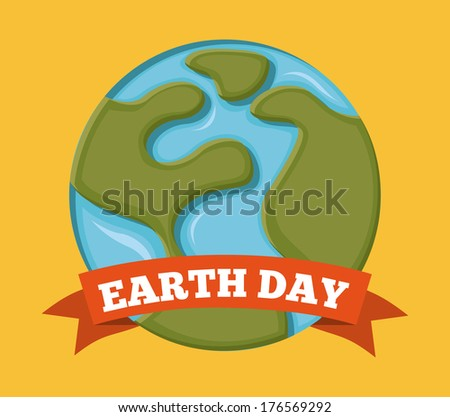 earth design over orange background vector illustration - stock vector