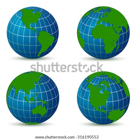 Earth from different angles map with  shadow - stock vector