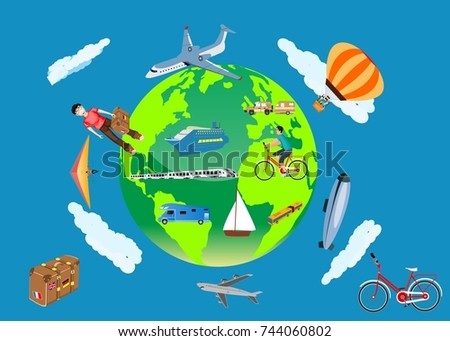 Earth globe and travel objects around, vector concept travel illustration