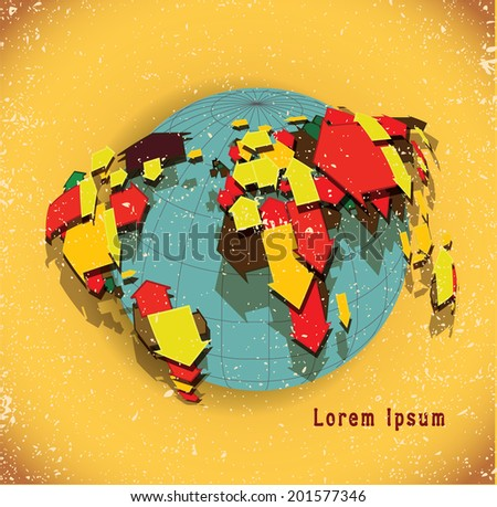 Earth globe consisting of arrows. Symbolizes the international relations, financial and business streams - stock vector