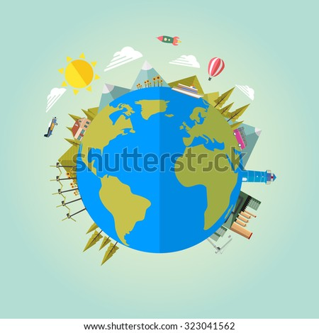 Earth globe, eco background. Vector flat illustration