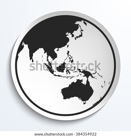 Earth Globe Icon on White Plate. Earth on Plate Vector Illustration. Black Earth with Australia View, Travel and Transportation Concept. - stock vector