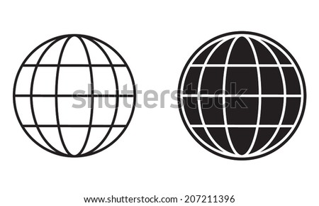 Earth globe icon or sign. Black and white globe symbols. Vector Illustration.  - stock vector