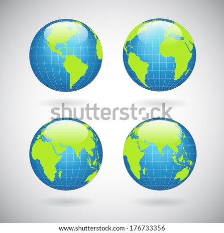 Earth globe icons set with world map continents and oceans isolated vector illustration