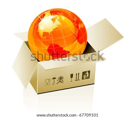 Earth globe in cardboard box on white background - stock vector