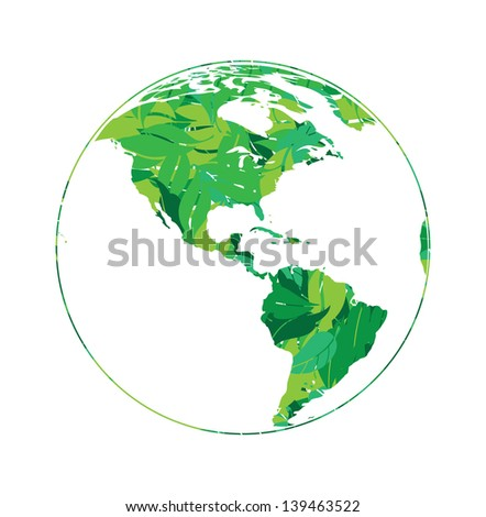 earth globe in green leaves vector illustration