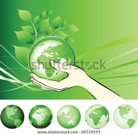 Earth globe in hands protected. Earth protection concepts, recycling, world issues, environment themes. All elements and textures are individual objects. Vector illustration scale to any size. - stock vector