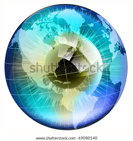 Earth Globe in  human eye. EPS10 vector illustration. - stock vector