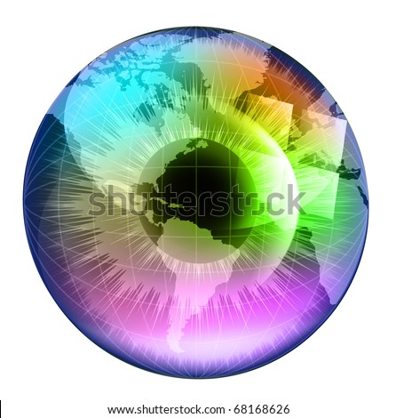 Earth Globe in multicolor human eye. EPS10 vector illustration. - stock vector