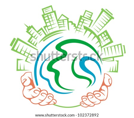 Earth globe in people hands for ecology concept. Jpeg version also available in gallery - stock vector