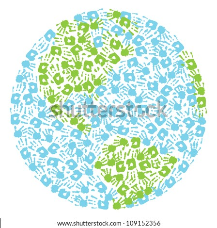 Earth globe made from handprints kid's and mother's - stock vector