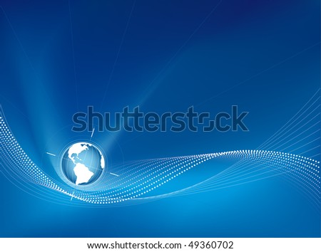 Earth globe on a blue stylish background - stock vector