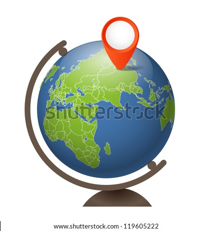 Earth globe on a support - stock vector