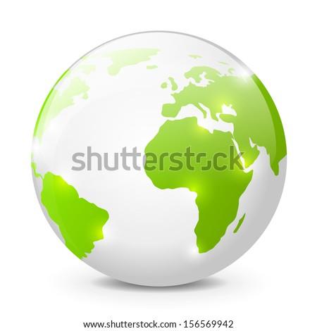 Earth globe on white background - stock vector