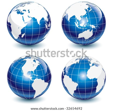Earth-globe revolved in four different stages.