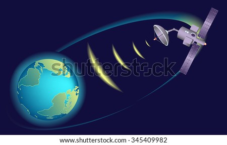 Earth Globe. Satellite orbiting Earth,  relaying communications. - stock vector