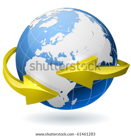 Earth globe surrounded by golden radial arrows. EPS10 file.