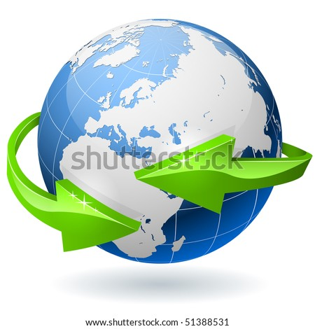 Earth globe surrounded by radial arrows. EPS10 file. - stock vector