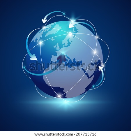 Earth - Globe vector,arrow around globe - stock vector