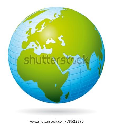 Earth globe vector icon. European view. - stock vector