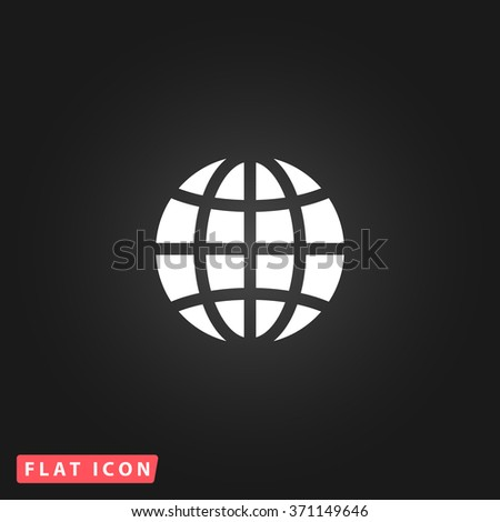 Earth Globe. White flat simple vector icon on black background. Icon JPEG JPG. Icon Picture Image. Icon Graphic Art. Icon EPS AI. Icon Drawing Object. Icon Path UI - stock vector
