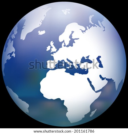 Earth Globe with a blurred sea texture vector illustration - stock vector