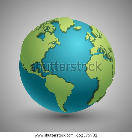 Earth globe green continents modern 3d vectores en stock 662375902 earth globe with green continents modern 3d world map concept green planet with continent gumiabroncs Images