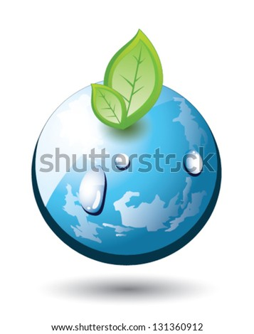 Earth globe with growing plant, abstract, EPS 10, isolated - stock vector
