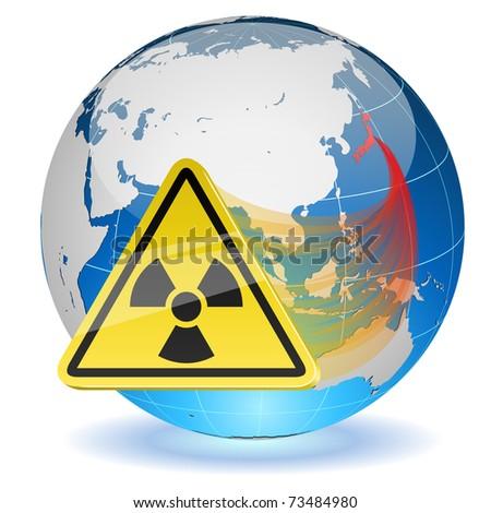 Earth globe with radiation hazard sign. Japanese radioactive contamination hazard. - stock vector
