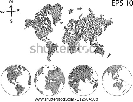 Earth globe world map detail vector stock vector 112504508 earth globe with world map detail vector line sketch up illustrator eps 10 sciox Image collections