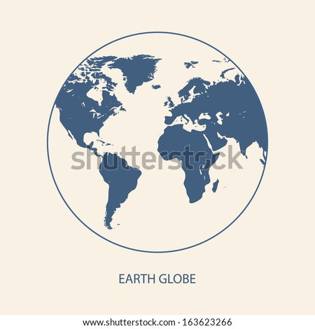 EARTH GLOBE WITH WORLD MAP VECTOR - stock vector