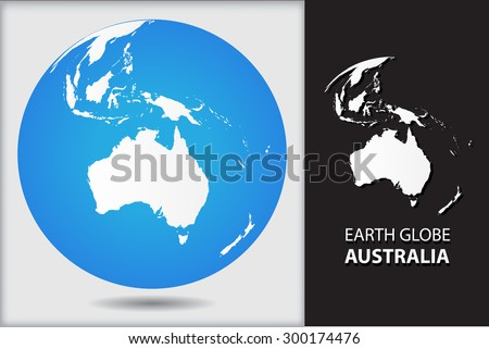 Earth globe.World globe icon with map of Australia.Vector illustration. - stock vector