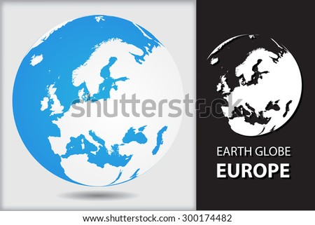 Earth globe.World globe icon with map of Europe.Vector illustration. - stock vector