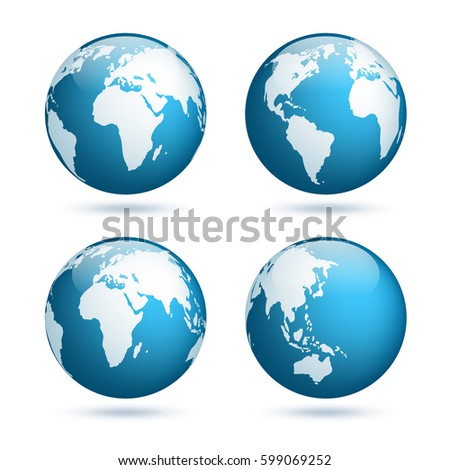 Earth globe world map set planet stock vector 599063057 shutterstock earth globe world map set planet with continentsrica asia australia sciox Image collections