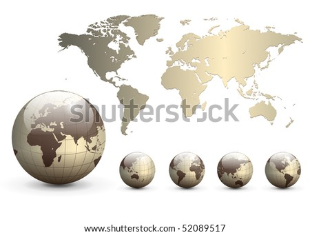 Earth globes and map of the world, detailed vector illustration