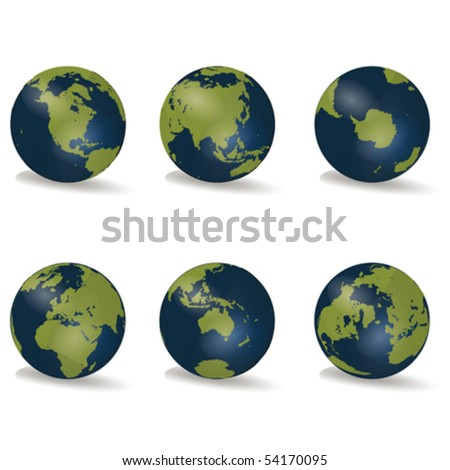 Earth Globes Continent Collection Vector - stock vector