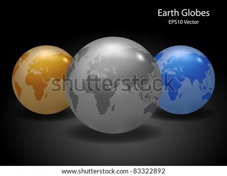 Earth Globes - EPS10 Vector - stock vector