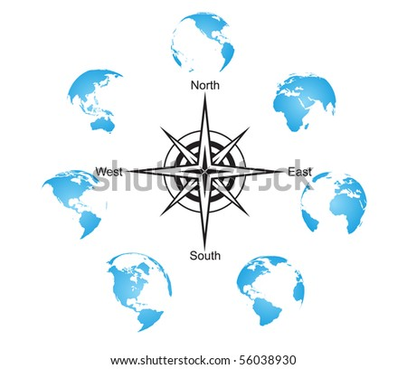 Earth globes set with compass - stock vector