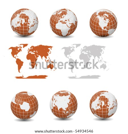 Earth Globes with maps collection vector isolated on white - stock vector
