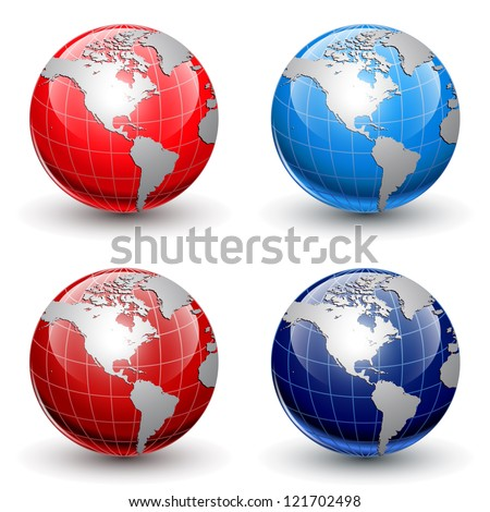 Earth globes, world glossy detailed vector illustration.