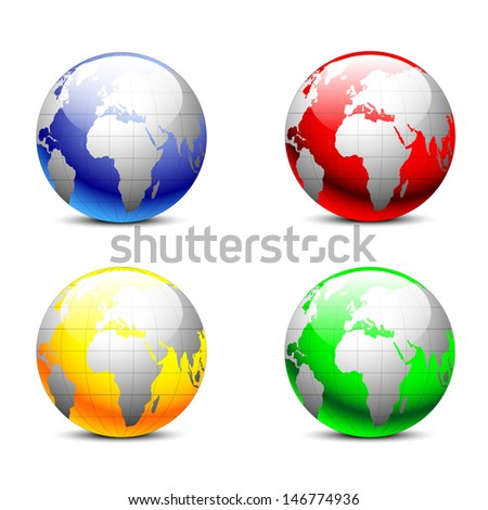 Earth globes, world glossy detailed vector illustration - stock vector
