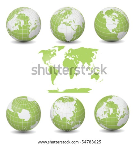 Earth Green Globes collection with World map vector illustration clip art isolated on white - stock vector